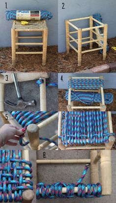 DIY Trash-to-Treasure Upcycled Recycled Repurposed - Woven Chair/Stool Seat - Decorative woven seat made with rope. Found on http://smileandwave.typepad.com/blog/2013/07/40-projects-just-for-fun-woven-stool-diy.html