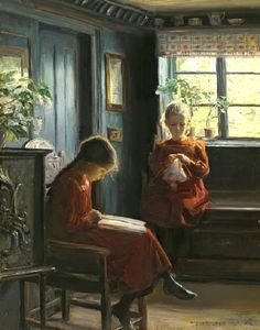 Afternoon Pasttimes by Knud Erik Larsen (1865 – 1922, Danish)