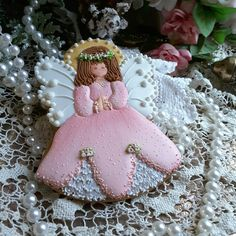 Gingerbread keepsake angel cookie in pink by Teri Pringle Wood