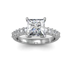 14k White Gold 1 7/8ct TDW Traditional Diamond Engagement Ring with 1 1/2ct Princess-cut Center Ston (Size 5), Women's, White H-I (solid)
