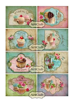 Vintage style cupcakes by ArtCult on Etsy Decoupage Vintage, Vintage Tags, Shabby Vintage, Vintage Stil, Paper Art, Paper Crafts, Etiquette Vintage, Decoupage Printables, Cupcake Pictures
