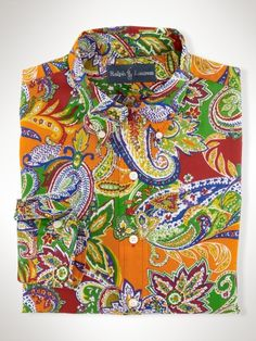 Indian Head,Polo Ralph Lauren,Denim Jackets,Xl,Sweaters,Snow. This  trim-fitting sport shirt is enlivened with a vibrant, colorful paisley  print for
