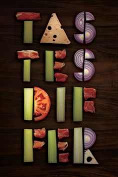 Typography Food Art :: Typo Posters by Vlad Likh - InspireFirst Food Typography, Creative Typography, Typography Letters, Typography Design, Inspiration Typographie, Typography Inspiration, Graphic Design Inspiration, Schrift Design, Dark Food Photography