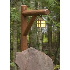 Exterior Ceiling Light Mounted on Rustic Post Provides Landscape Lighting