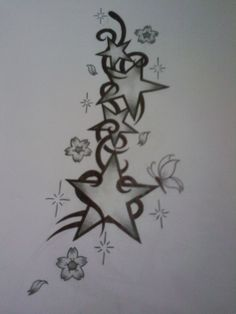 star tattoo design - really pretty - but would like it done with starfish!