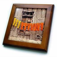 """Afghanistan, Ghazni, Woolen yarn on wooden poles-AS01 RER0061 - Ric Ergenbright - 8x8 Framed Tile by 3dRose. $22.99. Keyhole in the back of frame allows for easy hanging.. Solid wood frame. Cherry Finish. Dimensions: 8"""" H x 8"""" W x 1/2"""" D. Inset high gloss 6"""" x 6"""" ceramic tile.. Afghanistan, Ghazni, Woolen yarn on wooden poles-AS01 RER0061 - Ric Ergenbright Framed Tile is 8"""" x 8"""" with a 6"""" x 6"""" high gloss inset ceramic tile, surrounded by a solid wood frame with pre-drill..."""