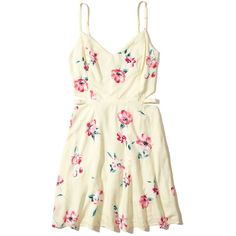 Hollister Lace-Up Woven Skater Dress ($40) ❤ liked on Polyvore featuring dresses, white open back dress, white fit and flare dress, lace up dress, open back dresses and high neck white dress