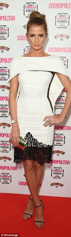 Millie Mackintosh looked lovely in an elaborate white dress which had a black lace trim