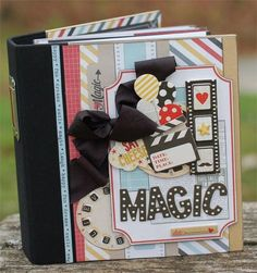 super cute kit from Button Farm using Simple Stories Say Cheese and a Snap Album. Like the embellies on the front cover. Scrapbook Cover, Disney Scrapbook Pages, Mini Scrapbook Albums, Scrapbooking Layouts, Scrapbook Background, Mini Books, Disney Cards, Handmade Scrapbook, Mini Albums Scrap