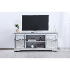 House of Hampton Lilianna TV Stand for TVs up to 65 inches Mirror Tv Stand, 60 Tv Stand, Glass Tv Stand, Tv Stands, Tv Stand Mirrored, Tv Stand Decor, Fireplace Tv Stand, Traditional Cabinets, Solid Wood Cabinets