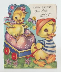 """Vintage Little Ducks and Wagon """"Happy Easter Dear Little Niece"""" Greeting Card"""