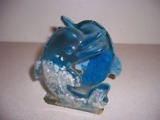 VTG RETRO LUCITE DOLPHINS & BEACH SAND NAPKIN HOLDER - NAUTICAL DECOR