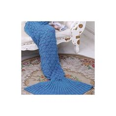 Rotita Blue Knitted Sleeping Bags Mermaid Tail Shape Blanket (£18) ❤ liked on Polyvore featuring home, bed & bath, bedding, blankets, blue, blue blanket, patterned bedding, mermaid blanket, blue bedding and acrylic blanket