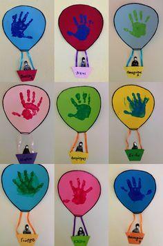 """παιχνιδοκαμώματα στου νηπ/γειου τα δρώμενα: αποτυπώματα σε ... """"air hot balllon"""" Crafts For 3 Year Olds, Fall Crafts For Kids, Toddler Crafts, Preschool Crafts, Kindergarten Classroom Decor, Toddler Classroom, Kindergarten Activities, Fun Rainy Day Activities, Toddler Activities"""