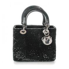 CHRISTIAN DIOR Sequin Medium Lady Dior Black ❤ liked on Polyvore featuring bags, handbags, handbag purse, sequin handbags, zipper handbags, patent leather handbags and patent handbags