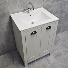 Mussel oak color, in a soft vinyl finish (see pictures). Traditional style vanity unit, with built in sink and an optional tap. Vanity Unit sizes (approx) With optional Knightsbridge tap. Bathroom Basin Cabinet, Sink Vanity Unit, Farmhouse Bathroom Sink, Bathroom Vanity Units, Wall Hung Vanity, Small Bathroom Vanities, Basin Sink, Bathroom Furniture, Bathroom Ideas
