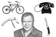 William Shatner's tech essentials include (clockwise from top left): a Faraday electric bike, a rotary...