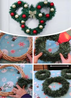 diy Easy christmas - DIY Disney holiday home decor ideas to get you in the Christmas spirit Disney Christmas Crafts, Disney Diy Crafts, Mickey Christmas, Holiday Crafts, Christmas Holidays, Diy Christmas Wreaths, Diy Projects For Christmas, Christmas Design, Christmas Decorating Ideas