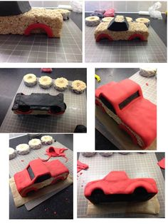 Monster truck cake instructions - how to make a monster truck and tyres from Rice Krispies Squares and sugar paste / fondant! 3 of 6