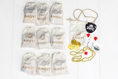 Soleil Moon Frye's new company P.S. XO: Party-in-a-Box (pirate theme), including premade decorations (tassel garlands, giant balloon, etc.), treat toppers, goodie bags and crafts.