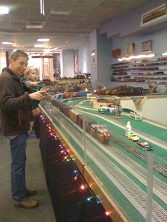 Watching the toy trains at the Sunnyvale Mall