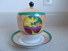 Vintage LUSTREware Art Nouveau SUGAR BOWL Noritake Japan GREEN ORANGE Hand paint | Pottery & Glass, Pottery & China, China & Dinnerware | eBay!