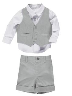 Ladybird Boys Grey Linen Suit (3-piece set) With a turquoise bow tie for our wedding!!!!