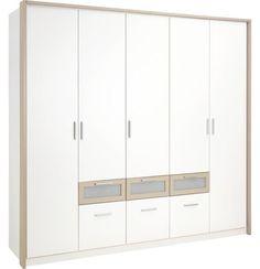 """""""Moderní a prostorná šatní skříň v alpské bílé barvě a pískově šedé s 5 dveřmi a 6 zásuvkami. Každý model je sériově vybaven 1 policí a 1 šatní tyčí. Další varianty a barvy včetně příslušenství lze objednat přímo v jedné z našich mnoha poboček XXXLutz."""" Možná 2x za postel proti sobě + kosmetický stolek a zrcadlo?"""