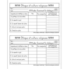 Fichier PDF téléchargeable En noir et blanc 1 page  Voici une grille d'évaluation des attitudes favorisant le dialogue (éthique et culture religieuse). Une colonne est réservée à l'auto-évaluation de l'élève en plus de l'évaluation de l'enseignant. Une page contient 2 grilles d'évaluation pour économiser du papier.