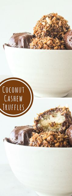 Delicious, healthier truffles made with coconut and cashews!
