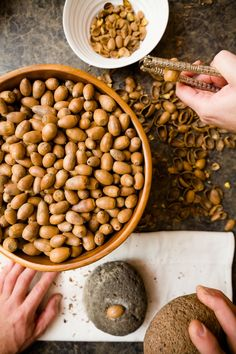 Acorns aren't just for squirrels. Native Americans ground acorns into flour and used the flour to make hearty stews and breads.  I, of course, used my aco