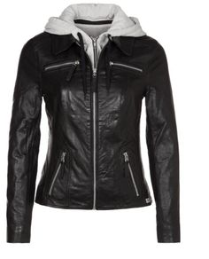 sale retailer 3b3bb 85ca6 Lederjacke Marco Polo, Schwarze Lederjacke Mit Grau Auf Der Hut Ist So  Cool, Die