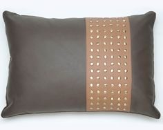 Chocolate Brown Real Leather Cushion Cover with Studs Buy Leather Pearl Necklace, Pearl Drop Necklace, Freshwater Pearl Necklaces, Cotton Velvet, Chocolate Brown, Cushion Covers, Real Leather, Leather Cushions, Studs