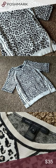 Marc Jacobs Oversized Zipper Sweater Cute, cozy and chic! Super cute with leggings or skinnies and boots! The inner color of the cheetah print is a shimmering silver, its absolutely gorgeous! Marc by Marc Jacobs Tops