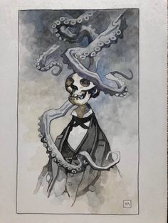 Skeleton Guy with Tentacles painting Comic Art Comic Book Artists, Comic Artist, Comic Books Art, Hellboy Tattoo, Mike Mignola Art, Horror Picture Show, Octopus Art, Found Object Art, Science Fiction Art