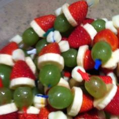 Grinch Kabobs going to be part of our holiday menu. We always decorate the the house and tree and then that night we watch the grinch !
