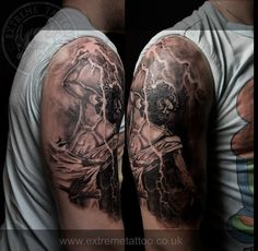 Zeus tattoo done at Extreme Tattoo&Piercing Inverness,Highland, Scotland by Catalin Gal. At our studio,you can get all kind of tattoos and piercings, like Realistic, Black and grey tattoo,Japanese tattoo,Traditional, Floral,Chinese tattoo,Fine line art tattoo, Old school tattoo,Maori tattoo, Religious tattoo, Pin-up tattoo, Celtic tattoo, New school tattoo,Oriental tattoo, Biomechanical tattoo and lots of other designs .For bookings,email studio@tattooscotland.co.uk!