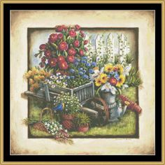Wheelbarrow [BF-48] - $16.00 : Mystic Stitch Inc, The fine art of counted cross stitch patterns