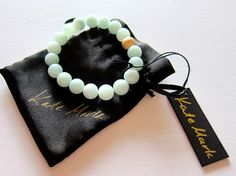 Amazonite Beaded Bracelet, Mala with 14k Gold Filled Bead