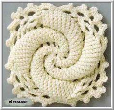 Flor caracol de crochê com gráfico