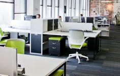 Carpet + Desks + pops of colour (but ours would be orange!)  Coworking Space - CoWork Jax,  Jacksonville, USA