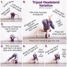 "924 Likes, 78 Comments - Laura Large (@omniyogagirl) on Instagram: ""✨ Tripod Headstand Variation Tutorial ✨ #omniyogagirltips ✨ . 1. Kneel down, & place your right…"""