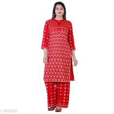 Checkout this latest Kurta Sets Product Name: *Women's Printed Rayon Kurta with Palazzos* Kurta Fabric: Rayon Bottomwear Fabric: Rayon Sleeve Length: Three-Quarter Sleeves Set Type: Kurta With Bottomwear Bottom Type: Palazzos Pattern: Printed Multipack: Single Sizes: M (Bust Size: 38 in, Shoulder Size: 14.5 in, Kurta Waist Size: 36 in, Kurta Hip Size: 40 in, Kurta Length Size: 40 in, Bottom Waist Size: 28 in, Bottom Hip Size: 42 in, Bottom Length Size: 40 in)  L (Bust Size: 40 in, Shoulder Size: 15 in, Kurta Waist Size: 38 in, Kurta Hip Size: 42 in, Kurta Length Size: 40 in, Bottom Waist Size: 29 in, Bottom Hip Size: 44 in, Bottom Length Size: 40 in)  XL (Bust Size: 42 in, Shoulder Size: 15.5 in, Kurta Waist Size: 40 in, Kurta Hip Size: 44 in, Kurta Length Size: 40 in, Bottom Waist Size: 30 in, Bottom Hip Size: 46 in, Bottom Length Size: 40 in)  XXL (Bust Size: 44 in, Shoulder Size: 16 in, Kurta Waist Size: 42 in, Kurta Hip Size: 46 in, Kurta Length Size: 40 in, Bottom Waist Size: 31 in, Bottom Hip Size: 48 in, Bottom Length Size: 40 in)  Country of Origin: India Easy Returns Available In Case Of Any Issue   Catalog Rating: ★4 (430)  Catalog Name: Aishani Fabulous Women Kurta Sets CatalogID_1208534 C74-SC1003 Code: 045-7499691-999