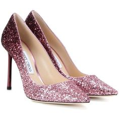 Jimmy Choo Romy 100 Glitter Pumps (1,055 BAM) ❤ liked on Polyvore featuring shoes, pumps, heels, jimmy choo, pink, pink glitter pumps, glitter heel shoes, pink heeled shoes and glitter pumps