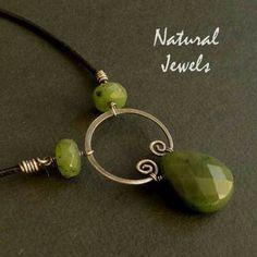 Sterling silver  Necklace GREEN JADE BRIOLETTE