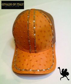 Givaldi of Italy Genuine Cognac Ostrich Leather Hat, With Fish Net Back #Handmade #BaseballCap