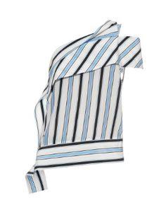 One-shoulder striped silk top    MSGM   MATCHESFASHION.COM US
