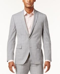 Bar Iii Men's Slim-Fit Light Gray Plaid Suit Jacket, Only at Macy's  - Gray 42R