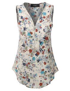 LE3NO Womens Sleeveless Floral Print Chiffon Blouse Top