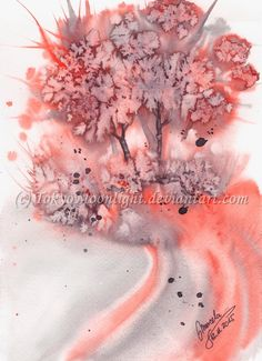 """""""Red Trees"""" by TokyoMoonlight (Marcela),  watercolor. DEVIANTART: http://tokyomoonlight.deviantart.com/ TUMBLR: http://tokyomoonlightart.tumblr.com/ #watercolor #painting #art #abstract #landscape"""